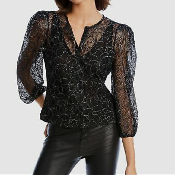 NWT Puff Sleeve Lace Mesh Black Blouse MSRP $198